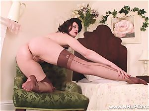 red-hot cougar dildos fucktoy to orgasm in pantyhose suspenders