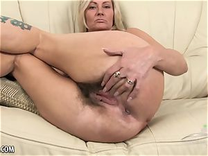 Mature unshaved platinum-blonde goes for a walk and converses messy.