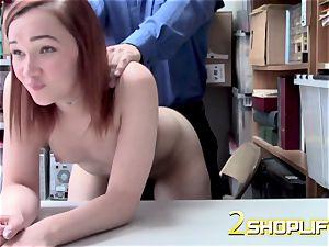 April gets down on her knees to receive officers huge shaft